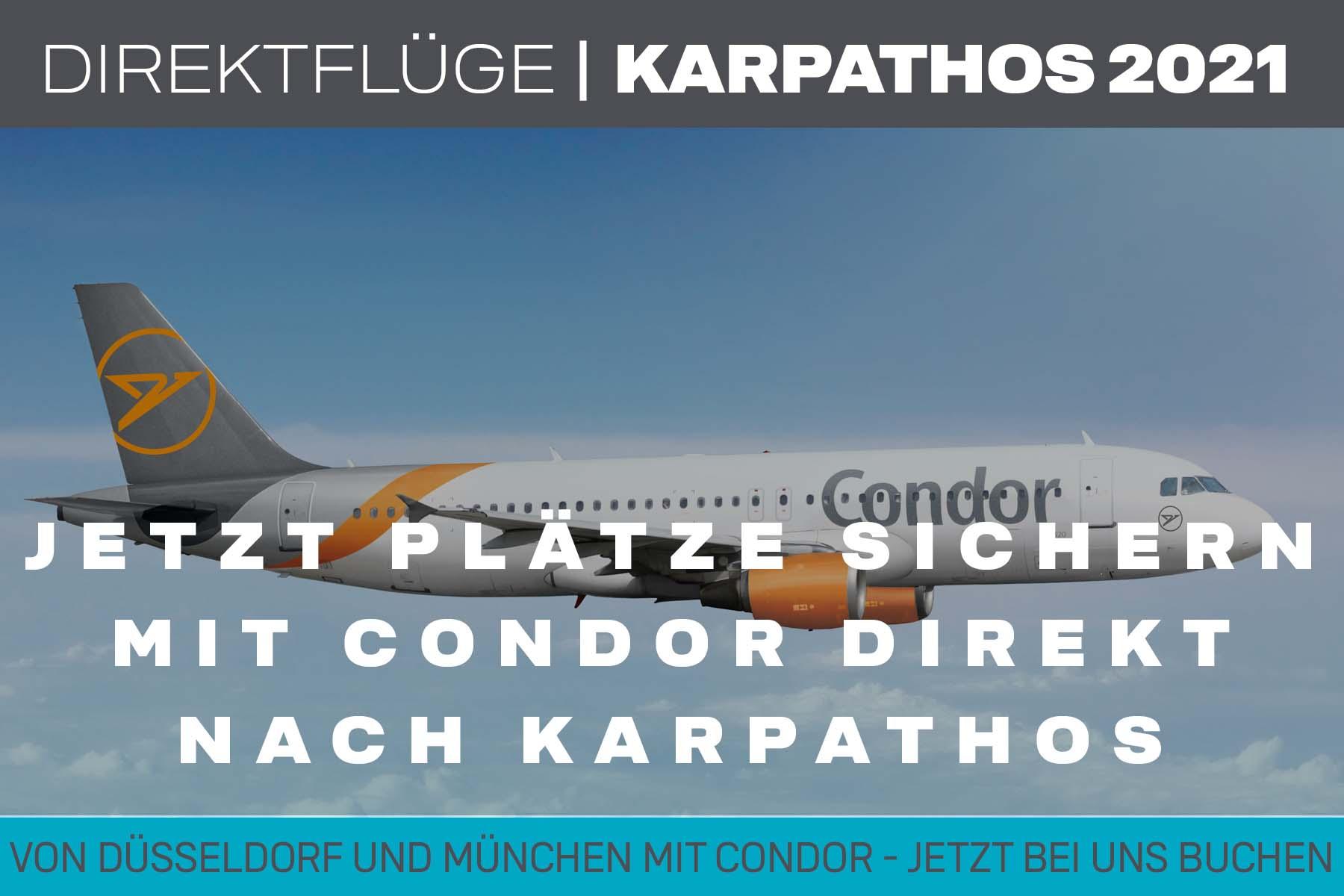Condor Direktflug nach Karpathos Sommer 2021